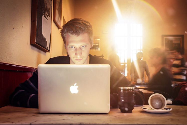 Self portrait 2016 // Real People Technology Wireless Technology Laptop Indoors  Front View Boys Using Laptop One Person Sitting Illuminated Young Adult Keyboard Day Self Portrait Coffee Cup Lensmug Lens Flare Long Exposure Warm Tones Warm People People In The Background MacBook MacBookPro