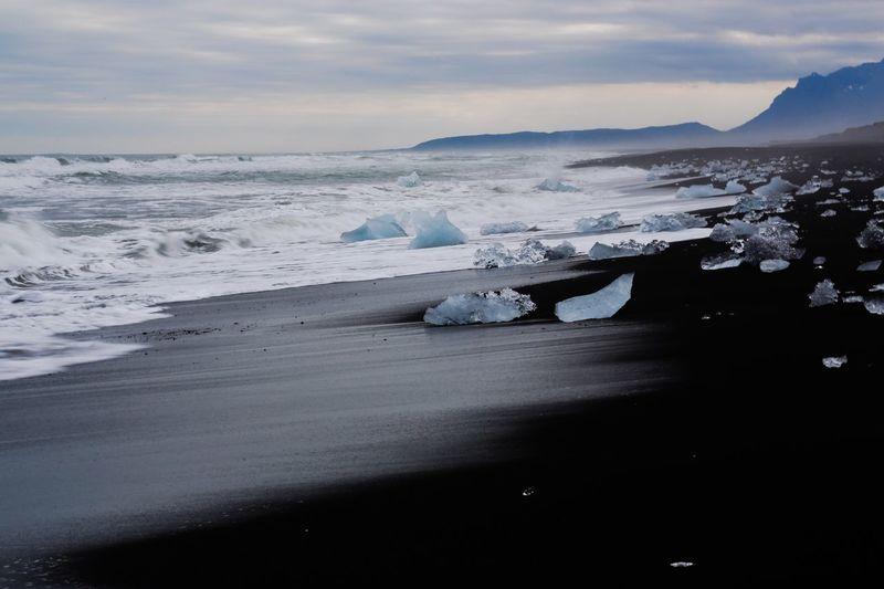 Iceland beach near Jökullsarlon glacier, Ice Age