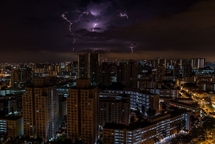 Night Skyscraper Cityscape City Sky Urban Skyline Lightning Power In Nature Thunderstorm Forked Lightning