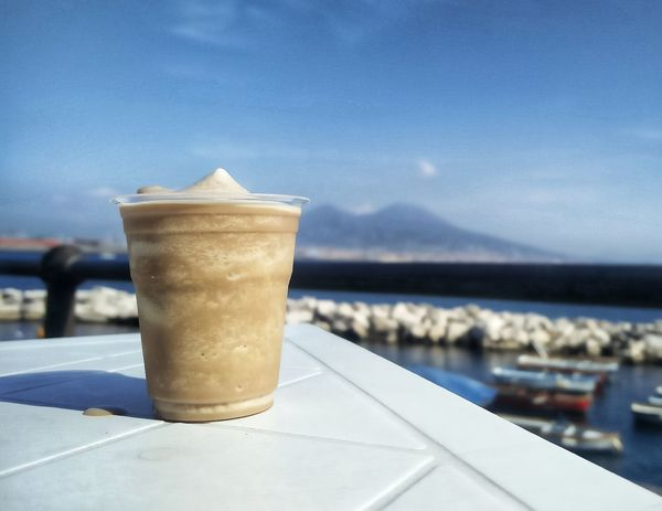 Vesuvio Coffee - Drink Drink Cafe Refreshment Water Drinking Glass Close-up Sea Freshness Happy Love Tranquility Peace And Tranquility EyeEm Selects EyeEmNewHere Buongiorno Dreaming Horizon Over Water Landscape Napoli Relaxing Cold Temperature Ice Coffee Break