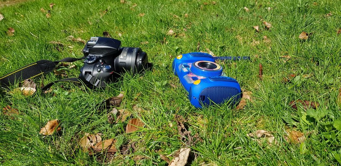 Outdoors Hobby Photography Quality Time Together Parent And Child EyeEm Selects Blue High Angle View Field Grass Green Color Close-up Things That Go Together