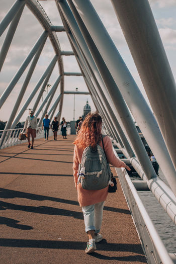 Urbanphotography City Women Full Length Bridge - Man Made Structure Walking Sky Architecture Built Structure #urbanana: The Urban Playground