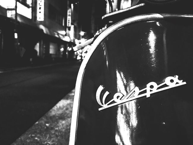 vespa in... Kobe Night Bw Monochrome Streetphotography Street Street Day No People Road