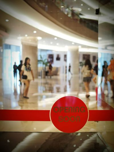 Red Illuminated Shopping Mall Indoors  Sign