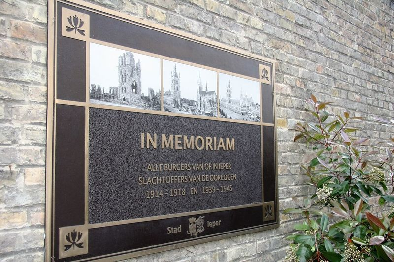 In Memoriam - Ypres (Ieper) A plaque in Ypres - in memoriam, for all citizens of Ypres, victims of wars 1914-1918 and 1939-1945. In memoriam, alle burgers van of in Ieper, slachtoffers van de oorlogen 1914-1918 en 1939-1945. The Belgian city of Ypres (Ieper) - affectionately called 'wipers' by soldiers in the British Expeditionary Force - suffered horrendous casualties during numerous battles in the surrounding area. Although we often hear the term 'Battle of Ypres', there were at least five major battles in northern France and southern Belgium. First Battle of Ypres (19th October to 22nd November, 1914) after the Race to The Sea. Second Battle of Ypres (22nd April to 15th May, 1915) saw the first large-scale use of poison gas by the German army. Third Battle of Ypres (31st July to 6th November, 1917), also known as the Battle of Passchendaele Fourth Battle of Ypres (9th to 29th April, 1918) - also known as the Battle of Estaires or Battle of the Ly. Fifth Battle of Ypres (28th September to 2nd October, 1918) - also known as the Advance of Flanders. http://pics.travelnotes.org/ Battle Of Ypres Belgium Flanders Ieper In Memoriam Michel Guntern Sign Thought Provoking  Travel Photography Ypres Belgian  Bleak Brick Wall Close-up Day In Memory Of No People Outdoors Plaque Remember Remembrance Stark Text Travelpics World War
