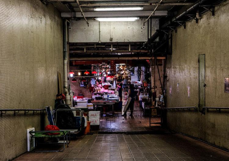 Illuminated market at night