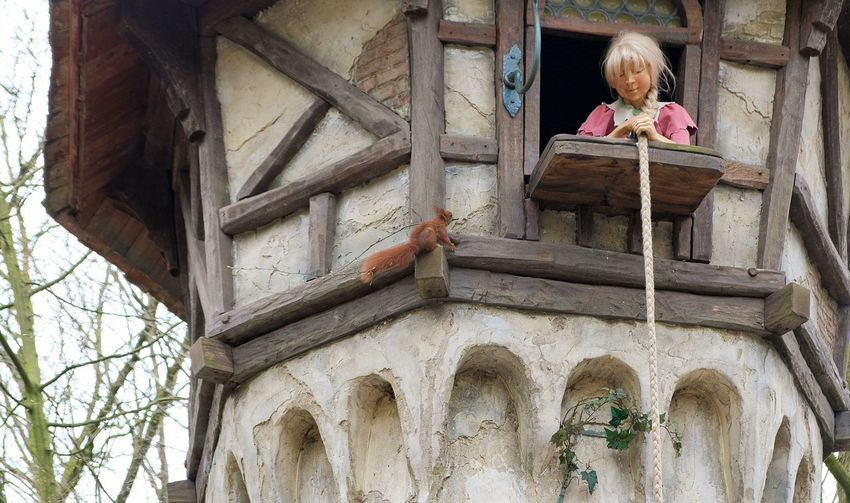 Attraction theme park the Efteling, Kaatsheuvel, the Netherlands. Architecture Built Structure Building Exterior One Person Low Angle View Day Building Child Childhood Window Females Women The Past Girls Lifestyles History Art And Craft Human Representation Outdoors