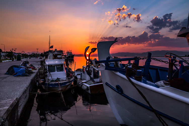 Sunset in Between Harbor Keramoti Beauty In Nature Cloud - Sky Day Mode Of Transport Moored Nature Nautical Vessel No People Orange Color Outdoors Sea Sky Sunset Transportation Water