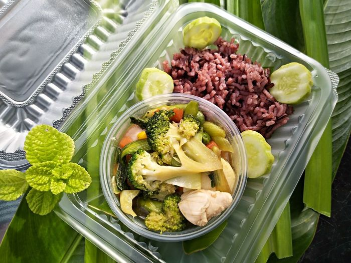 riceberry with mixed vegetable puff Healthy Eating Rice Clean Food Healthy Food Healthyfood Clean Food Lunch Box Design Vegetable Directly Above High Angle View Variation Close-up Food And Drink