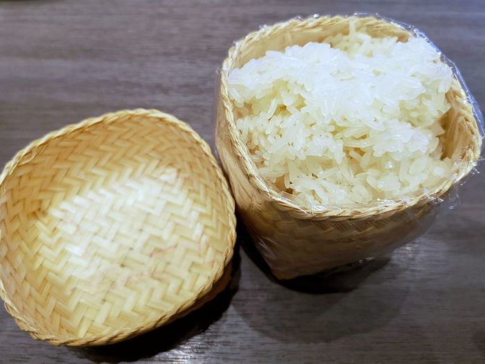 Basket Rice Sticky Rice Wood - Material Close-up Served Serving Size