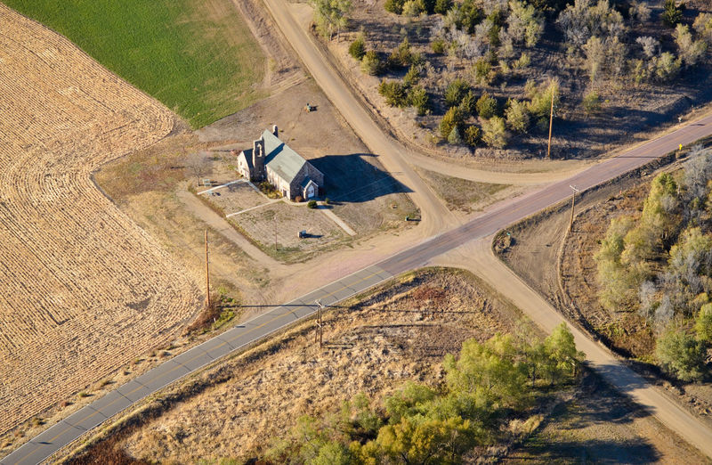 High Angle View Road Aerial View Aerial Aerial Photography Aerial Shot Church Church Architecture Building Rural Scene Rural Countryside South Dakota Trees Field Intersection Streets Corner Landscape Outdoors Land Sunlight Lone Building