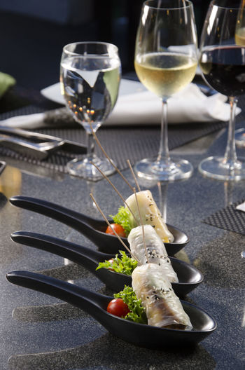 Close-up of wineglass served on table