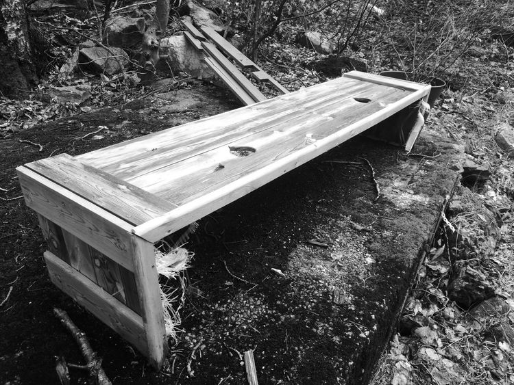 Bench in the woods. Highview Day Daylight Blackandwhite No People No Animals Bench Woods Blackandwhite Bench Wood