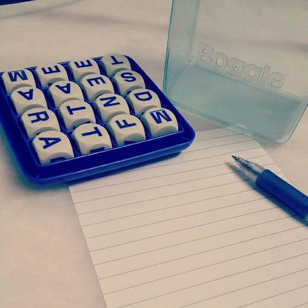 This beats playing online games.Game Traditional Games Word Game Words Letters Mindboggling Boggle Hasbro Parkerbrothers Monochrome Blue Fun Exciting Pen And Paper
