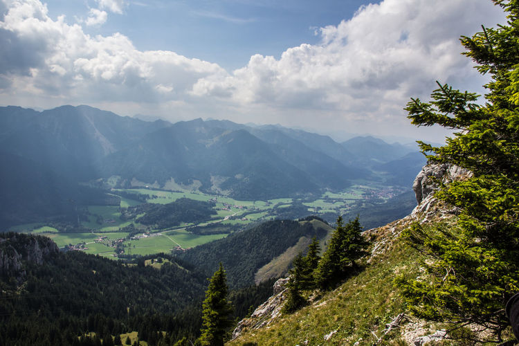 View from Wendelstein, Bavarian Alps Alpen Green Color Panorama Sunlight View Wendelstein Alps Blue Blue Sky Challenge Cloud - Sky Day Fir Holiday Landscape Mountain Nature No People Outdoors Range Shadow Sight Sky Travel Destinations View From Above