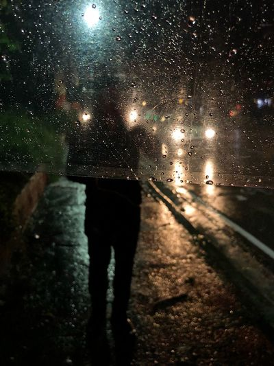 Rear view of person walking on wet street at night
