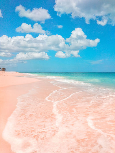 Sea Water Beach Sand Blue Summer Pink Color Sky Cloud - Sky Landscape