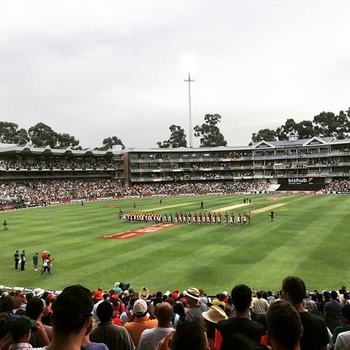 Proteas T20 against West Indies. Lining up for the National Anthem. ProteaFire Proteas T20 Cricket Wanderers WanderersStadium Windies ProudlySouthAfrican Southafrica