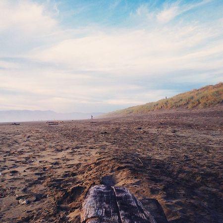   Not Alone   Vscocam Lost SF Bay Bayarea Sky Earth Sea Sun Sand IPhone Footprints Sanfrancisco Surf Surfing Thursday Water Aqua