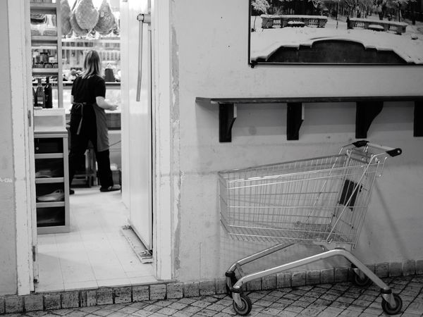 Donostia / San Sebastián Basque Country Shopping Time Shop Shopping Mall People Watching people and places People Photography Bnw B&w Blackandwhite Black And White Black & White Shopping Cart Groceries Push Cart Shopping Basket Cart Supermarket