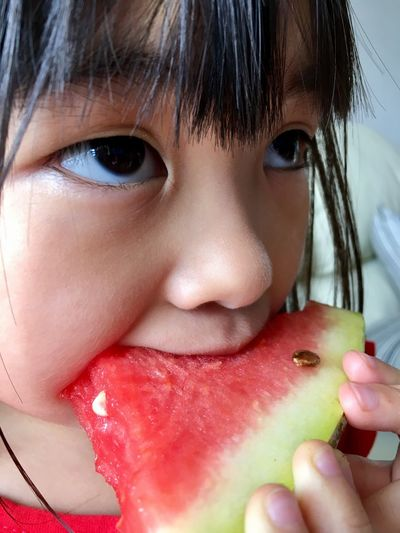 Food And Drink Close-up Child Eating Watermelon