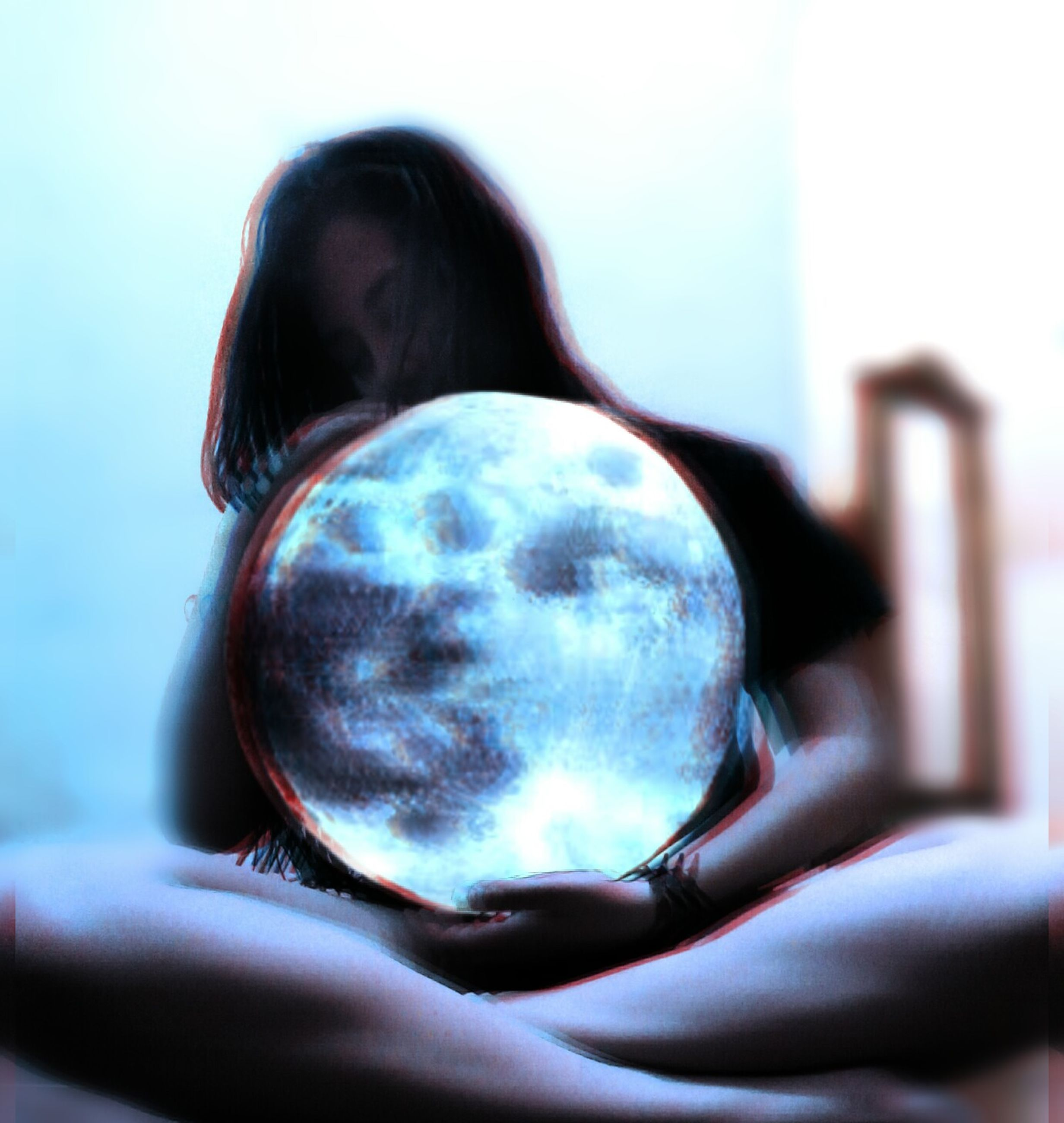 holding, crystal ball, sphere, human hand, human body part, focus on foreground, close-up, one person, real people, planet earth, indoors, sky, day, astronomy, adult, people
