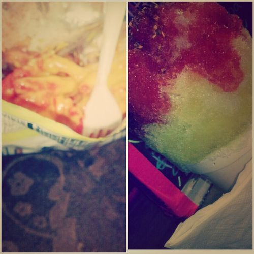 Shaved Ice & Hot Cheetos W. Cheese Goes Hard.