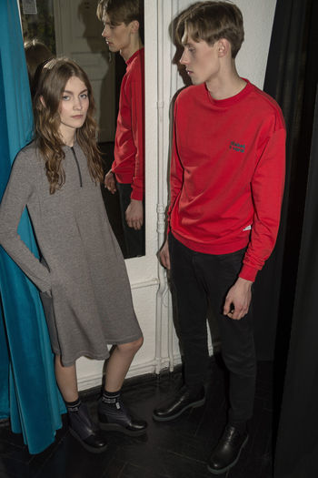 Backstage Casual Couple Fashion Linas Was Here Love Mirror Backstage Black Boy And Girl Brunette Curtains Grey Dress Red Jumper The Portraitist - 2018 EyeEm Awards Urban Fashion Jungle 50 Ways Of Seeing: Gratitude The Modern Professional