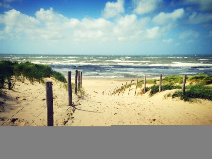 Sea Beach Sand Horizon Over Water Shore Sky Nature Water Beauty In Nature No People Netherlands Nature Dutch Landscape Grass Dutch 2017 Wooden Post Breathing Space
