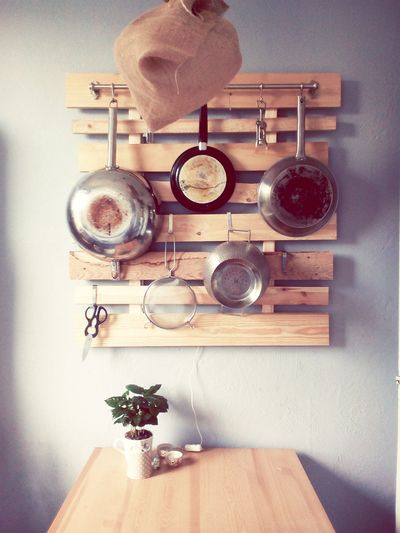 Pans Pans Utensils Cooking Interior DIY Wood - Material Hanging Decoration EyeEm Selects Domestic Room Kitchen Domestic Life Wooden