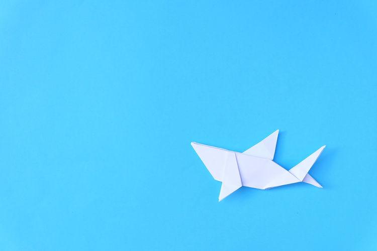 origami shark minimal style on bluesea paper Animal Art ArtWork Blue Bluesea Close-up Copy Space Deep Blue Sea Minimal Minimal Photography Minimal Style My Artwork Ocean Origami Origami Art Origami Shark Origamiart Paper Paper Shark Sea Shark White Shark