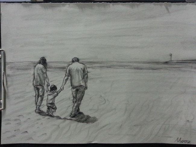 Drawing Familys Homework Beach