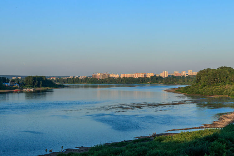 River View Riverside Skyline Architecture Blue Building Exterior City Clear Sky Outdoors Reflection River Riverbank Riverscape Siberia Sky Tranquil Scene Tranquility Water