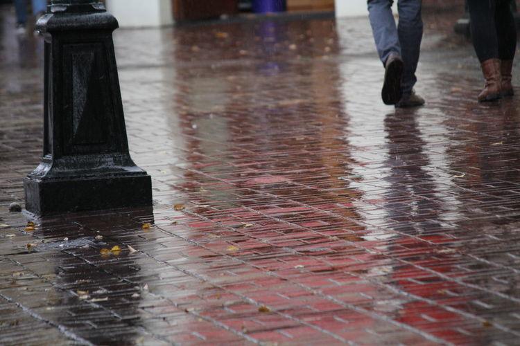 Wet Rain Low Section Reflection Rainy Season Human Leg Water Street City Body Part Footpath Real People Day Walking Human Body Part Standing Outdoors People Human Limb Wet Bricks Wet Sidewalk
