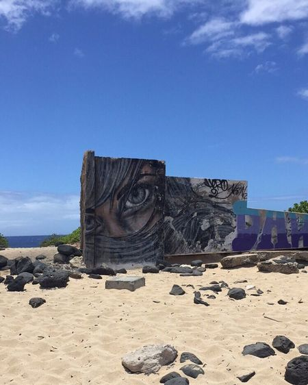 Hawaii Oahu Oahu, Hawaii Ocean Graffiti Art Eye Ka'ena Point Beach Nature IPhoneography