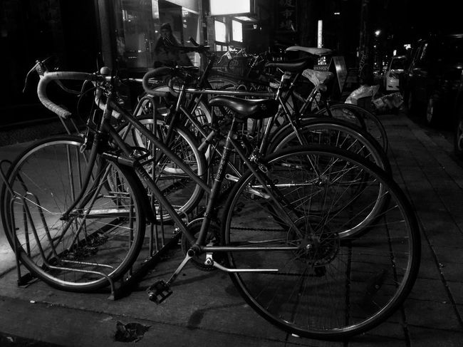Choices: Bicycle Land Vehicle Mode Of Transport Transportation Stationary Bicycle Rack Blackandwhite Black And White Low Angle View Maximum Closeness Focus Object CyclingUnites EE_Daily: Black And White EyeEm Best Shots - Black + White EyeEm Best Shots Bw_collection Bw_lover EyeEm Masterclass EyeEm Gallery EyeEmBestPics B&w Street Photography Street Photography Streetphotography Outdoors Person
