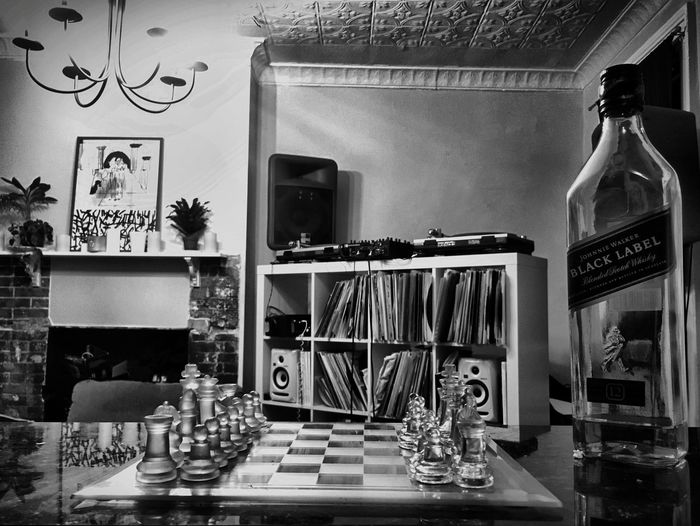 Chess & Johnny walker Record Vinyl Chess Blackandwhite Blackandwhite Photography Black Label Johnny Walker Table Seat Wall - Building Feature Food And Drink Shelf Decoration