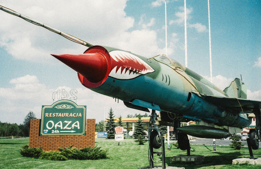 35mm Film Plane Fighter Gas Station Jet Jetty Mig21 Oasis Oaza Streetphotography Surreal