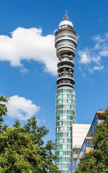 BT Tower Architecture Building Exterior Built Structure City Day Growth Low Angle View Modern No People Outdoors Sky Skyscraper Tall - High Tower Travel Destinations Tree