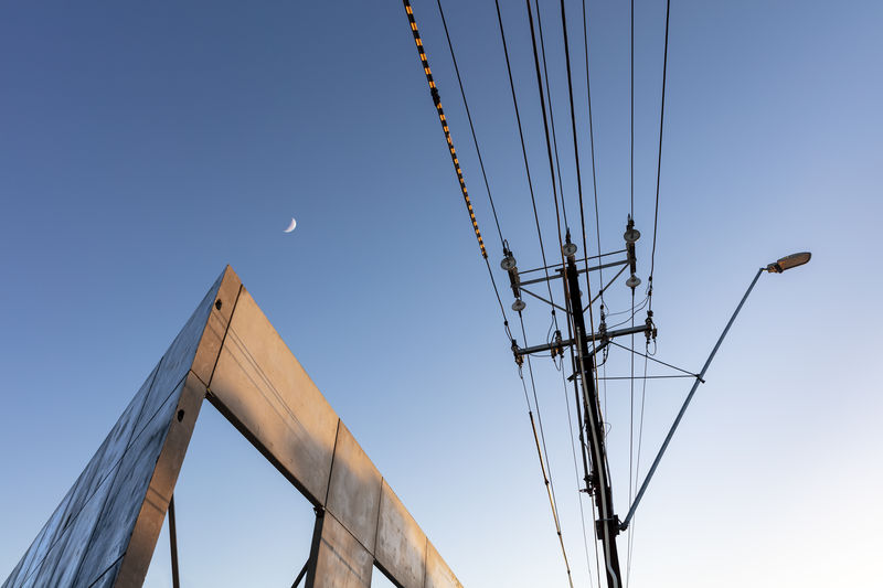 Sky Cable Electricity  Architecture Blue Clear Sky Low Angle View No People Power Supply Power Line  Pole Built Structure Moon Dawn