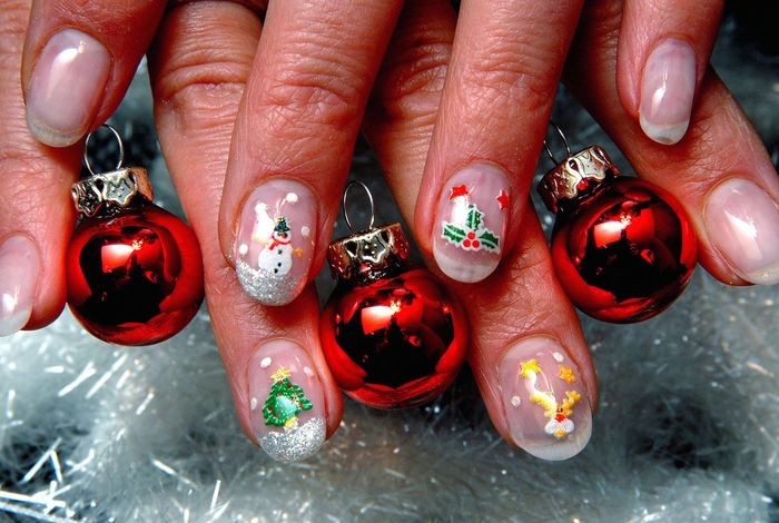 X-mas Nails Human Body Part Red Human Hand Nail Polish Shiny Fingernail Human Finger Nail Art Close-up Multi Colored People Adult Painting Fingernails Arts Culture And Entertainment AMP PICTURES
