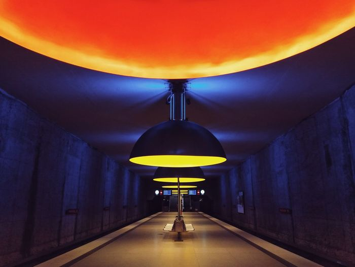 U-Bahn Underground Station  Illuminated City Architecture Symmetry Tunnel Electric Light Light Fixture Ceiling Light