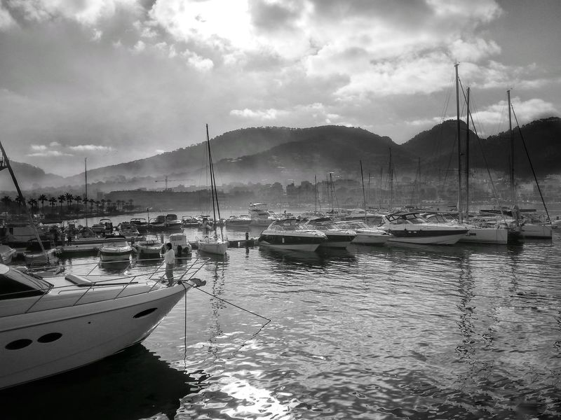 Port Water Cloud - Sky Nautical Vessel Mallorcaphotographer Mallorca Island Mallorca Black & White Shadows & Lights Andratx