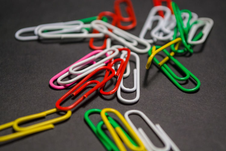 Clip Paper Clip Office Supply Multi Colored Still Life Indoors  Close-up Office Group Of Objects Large Group Of Objects Table Man Made No People Metal Man Made Object Equipment Choice Variation Group In A Row