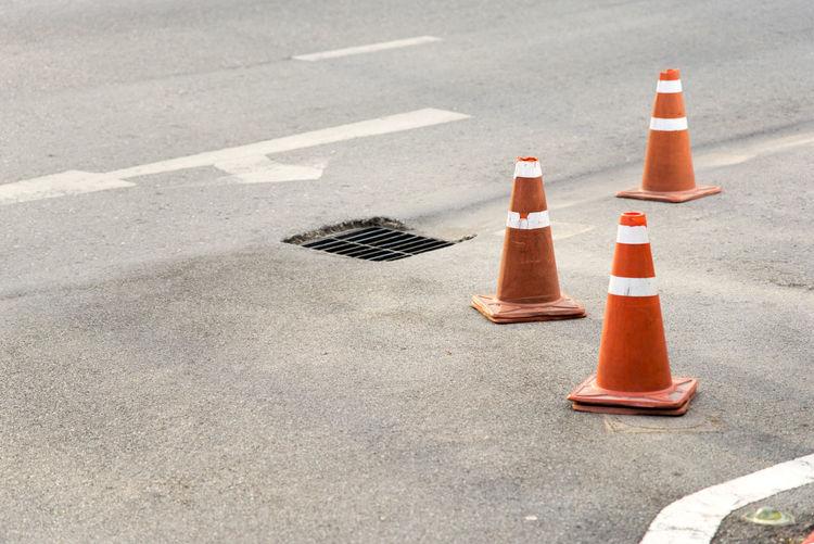 Traffic cones on city street