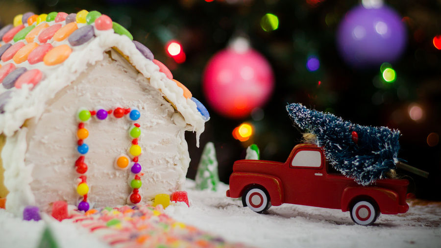 Gingerbread house Holiday Food Snow Truck Gingerbreadhouse Gingerbread Gingerbread House Red Truck Background Christmas Bokeh Night Before Christmas Candy Candycane  Candy Cane Bokeh EyeEm Selects Holidays Treat Christmas Car Christmas Tree Christmas Decoration Winter Celebration Sweet Food Food No People