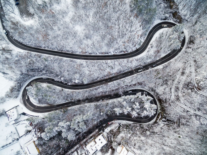 High angle view of mountain road during winter