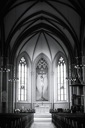 Religion Arch Place Of Worship Window Architecture Indoors  Built Structure Spirituality No People History Day Church Windows Jesus Walldorf Walldorf Astoria Germany Black And White Photography Black And White Church Altar EyeEm New Here
