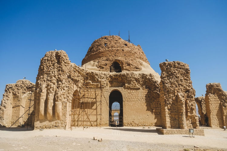 Sarvestan palace, a sassanid-era building. the building made of baked brick, stone and mortar, iran.