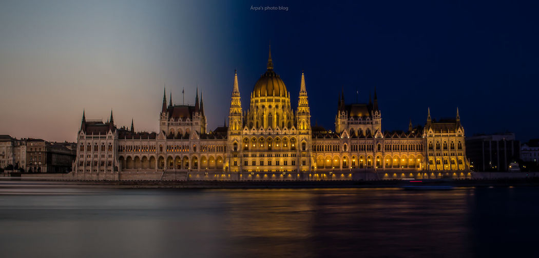 Architecture Building Exterior Built Structure Capital Cities  City City Life Clear Sky Dome Façade Famous Place Government Building History Hungarian Parliament Building Illuminated International Landmark Night Outdoors Parliament Building River Sky Tourism Tranquility Travel Destinations Water Waterfront